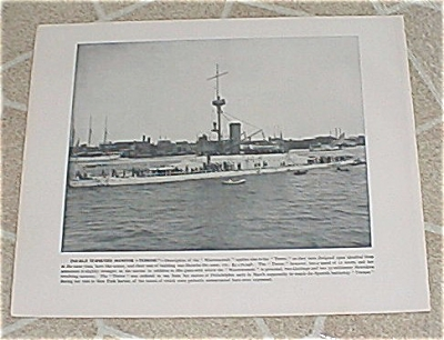 1898 Naval Ship Print,  USS Terror, USS Katahdin, Spanish American War (Image1)