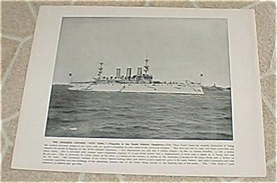1898 Naval Ship Antique Print, USS New York, Torpedo Boat, U.S. Navy (Image1)