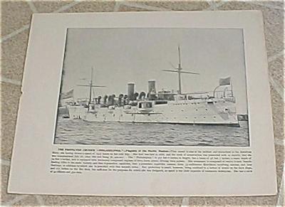 1898 Naval Ship Print, USS Philadelphia, USS Miantonomah, U.S. Navy (Image1)