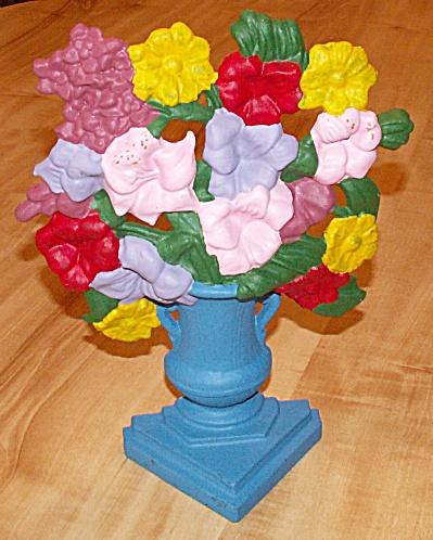 Repainted Vintage Large Cast Iron Metal Doorstop, Flowers in Vase (Image1)