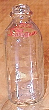 Vintage 1950s Quart Glass Milk Bottle, Sunny Slope Dairy