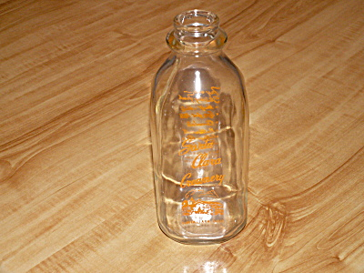 Vintage Clear Glass Quart Milk Bottle, Santa Clara Creamery, Ca