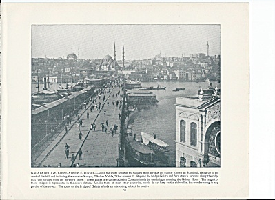 Constantinople, Turkey 1892 Shepp's Photos Book Page, Galata Bridge