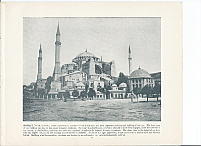 Constantinople, Turkey 1892 Shepp's Photos Book Pg, St. Sophia Mosque