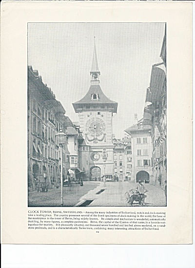 Berne, Switzerland 1892 Shepp's Photographs Book Page Clock Tower