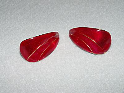Vintage Costume Jewelry, Pair Pierced Earrings Red Metal D (Image1)