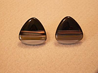 Vintage Costume Jewelry, Pair Pierced Earrings Triangle E (Image1)