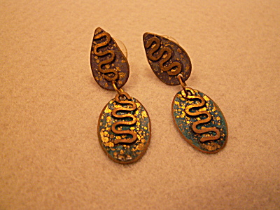 Vintage Costume Jewelry, Pair Pierced Drop Earrings India I
