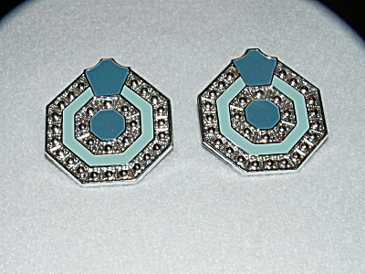 Vintage Costume Jewelry Pair Pierced Earrings 8sided Metal Turquoise R