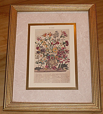 Framed Reproduction Of October Calendar Floral Print