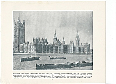 London, England 1892 Shepp's Photographs Book Page, Parliament (Image1)