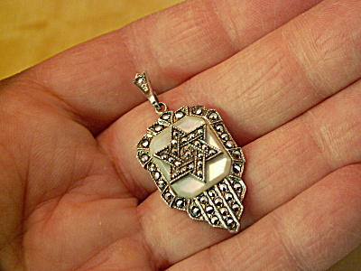 Unusual Sterling Silver Mop Marcasite Jewish Star Of David Pendant