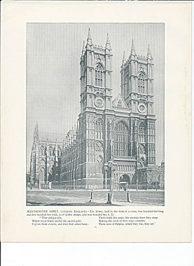 Westminster Abbey, London England 1892 Shepp's Photographs Book Page