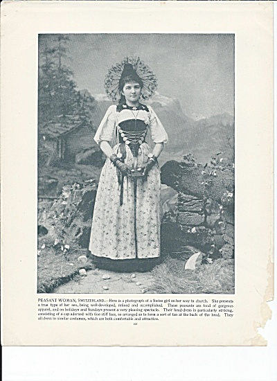Peasant Woman, Switzerland 1892 Shepp's Photographs Original Book Page