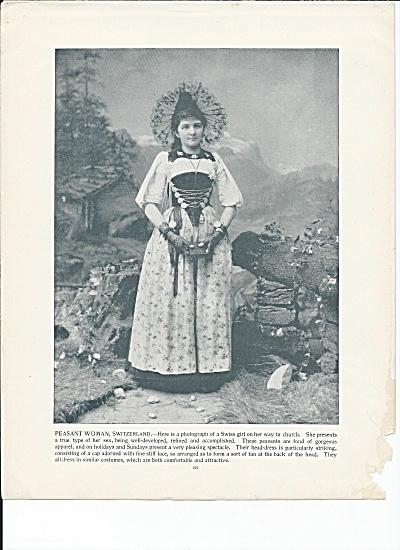 Peasant Woman, Switzerland 1892 Shepp's Photographs Original Book Page (Image1)