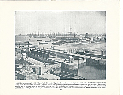 Harbor, Alexandria, Egypt 1892 Shepp's Photographs Original Book Page