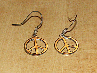 Vintage Pair 925 Sterling Silver Pierced Earrings Peace Sign Dangles