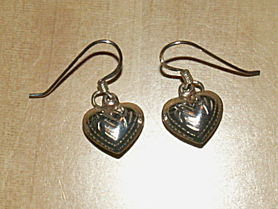 Vintage Pair 925 Sterling Silver Pierced Earrings Heart Dangles