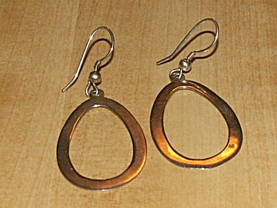 Vintage Pair 925 Sterling Silver Pierced Earrings Oval Hoop Dangles (Image1)