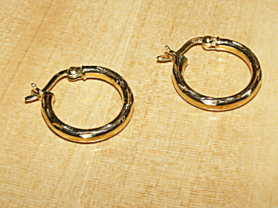 Pair Vintage Gold Over Sterling Silver Small Hoop Pierced Earrings