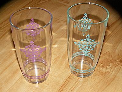 2 Vintage Hazel Atlas 1 Pint Sour Cream Jar Glasses Diamond Lace (Image1)