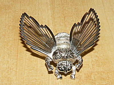 Vintage Signed Monet Pin Brooch, Silver-tone Flying Bumble Bee