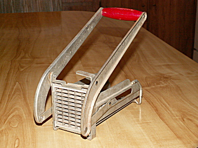 Vintage Ekco Miracle French Fry Cutter, 2 Blades, Red Wood Handle