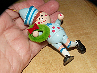 Vintage Taiwan Wood Christmas Ornament, Boy With Wreath