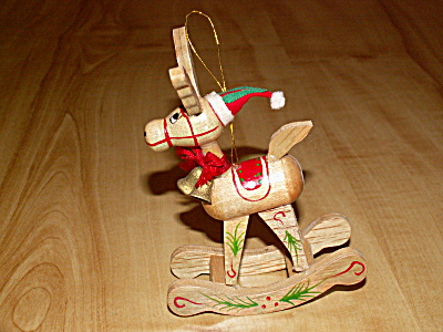 Nifty Vintage Wood Christmas Ornament Rocking Horse w/Great Face Ears (Image1)