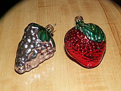 2 Vintage Fruit Colombia Glass Christmas Ornaments, Strawberry Grapes