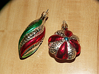 2 Vintage Colombia Glass Christmas Ornaments, Bright & Shimmery