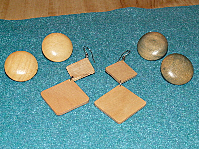 Group Of 3 Pairs Pierced Earrings Costume Jewelry, All Made Of Wood