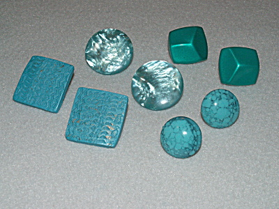 Group of 4 Pairs Pierced Earrings Costume Jewelry All Turquoise Color (Image1)