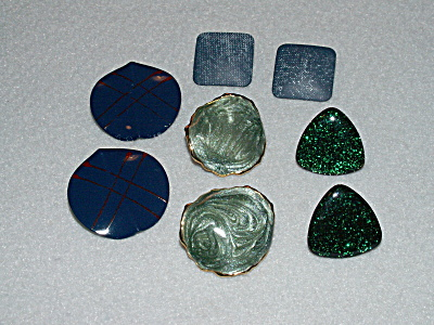Group 4 Pairs Pierced Earrings Costume Jewelry All Green, Blue Color