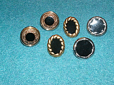 Group 3 Pairs Pierced Earrings Jewelry, Black W/gold-tone Silver-tone