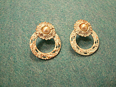 Vintage Costume Jewelry, Pair Faux Pearl & Metal Pierced Earrings