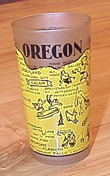1940s/1950s Souvenir State Glass Oregon, Hazel Atlas Glass Company