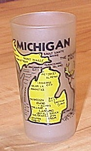1940s/1950s Souvenir State Glass Michigan, Hazel Atlas Glass Company