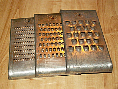 Set Of 3 Vintage Rapid Kitchen Graters Shredders Utensils Collectibles