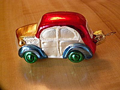 Vintage Germany Car Mercury Glass Christmas Ornament Wht Mica Glitter (Image1)