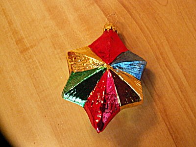 Vintage Germany Multi-color Star Mercury Glass Christmas Ornament