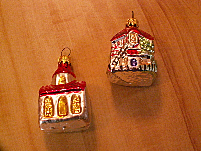 2 Vintage Germany Buildings Mercury Glass Christmas Ornaments Church