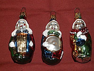 3 Vtg Glass Christmas Ornaments Clowns Musicians Accordion Drum Wind (Image1)