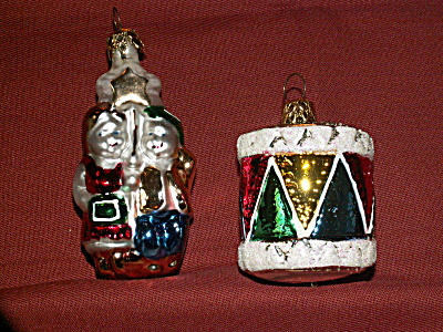 2 Vintage Mercury Glass Christmas Ornaments Drum Children With Star