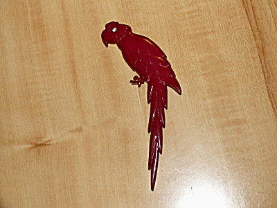Vintage Signed Red Parrot Pin Brooch Buch & Deichmann Denmark