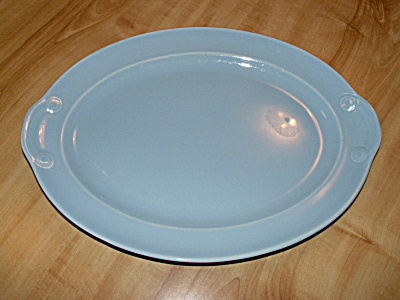 Pretty Blue T.S. & T. Lu-ray Pastels Oval Platter 13 1/4 Inches #1040 (Image1)