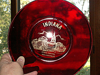 Ruby Glass Souvenir Plate Indiana Indianapolis State Capital Building