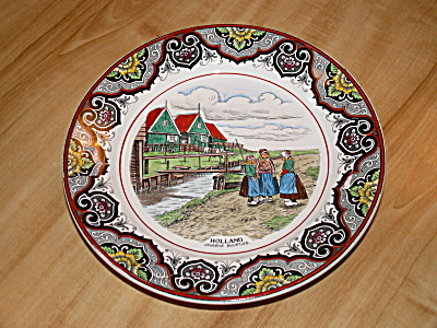 Antique Maestricht Souvenir Plate Holland Netherlands 3 Dutch Girls