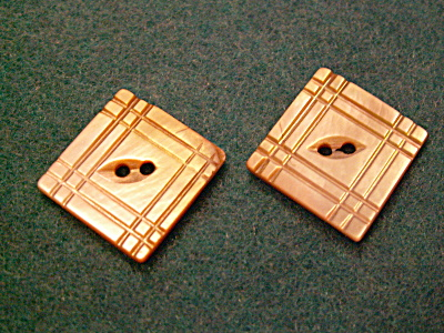 Pair Antique Carved Square Mother Of Pearl Shell Buttons 13/16""