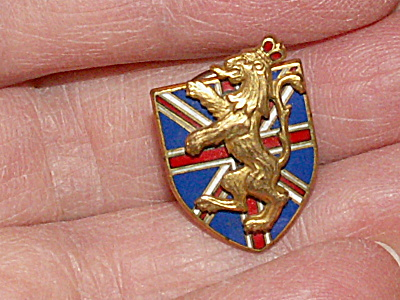 Vintage Cartier Screw Back Pin Enameled Union Jack & Lion England